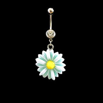Daisy Blue Belly Ring Flower With White Rhinestone Body Jewelry