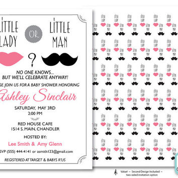Printable Gender Reveal Baby Shower Invitation,  Pink and Black Shower Invitation, Moustache Shower Invitation