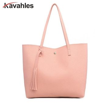 For Women PU Leather Tote Bag Fashion Casual Shoulder Bags With Tassel Large Capacity Soft Hasp Single Shoulder Woman Bag LW-45