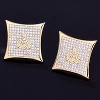 Iced Square Masonic Stud Earrings Gold or Silver
