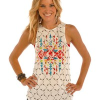 Rock & Roll Cowgirl Women's Natural Arrow and Aztec Print Tank