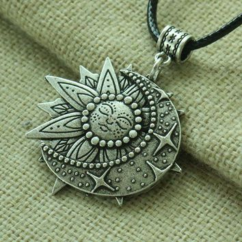 3D Sun and Moon celestial pendant Mandala flower women necklace talisman jewelry geometry amulet
