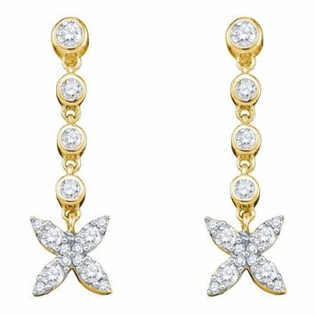 10kt Yellow Gold Women's Round Diamond Flower Cluster Dangle Earrings 3-4 Cttw - FREE Shipping (US/CAN)
