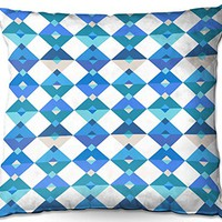 Outdoor Patio Couch Throw Pillows from DiaNoche Designs by Julia Grifol - Triangles Blue