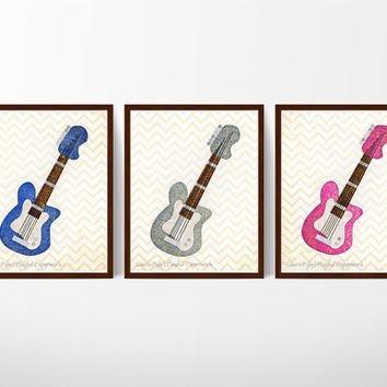 gender reveal party decor, twin nursery art, gender reveal ideas, rock and roll baby, unique baby gift, blue, gray, pink guitar prints