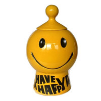 McCoy Pottery Cookie Jar, Have a Happy Day Smiley Face, Yellow, Black Happy Face