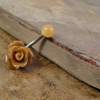 Chocolate Brown Rose Flower Belly Button Ring
