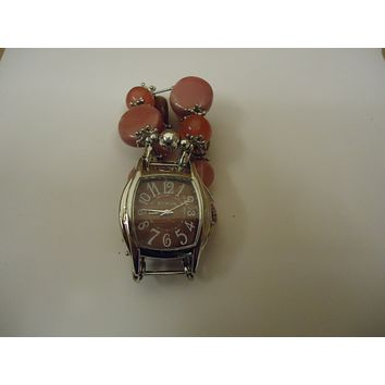 Geneva Watch Analog Casual Metal Beaded Band Female Adult Silver/Reds -- Preowned