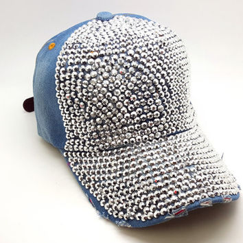 Bling cap with rhinestones/ Denim cap with bling/ baseball hat/ snapback/ truckers hat/ denim hat/ cap with bling/summer hat/ handmade hat