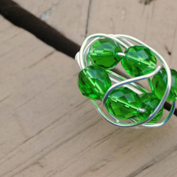 Wire Wrapped Ring Bright Green Crystal Beads