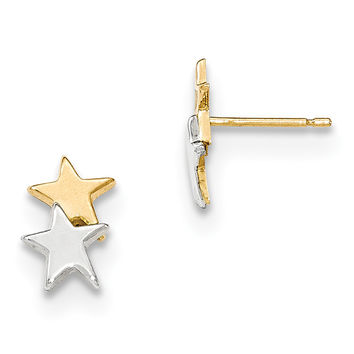 14k with Rhodium Polished Star Post Earrings YE1748