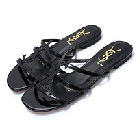 YSL 2019 new classic patent leather word with metal buckle open toe fashion flat female slippers Black