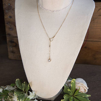 RAW OPAL LARIAT - Boho Chic, Raw Gemstone Jewelry, Ethiopian Opal, Gifts for Her, Crystal, Layering Necklace, Dainty Gold Necklace, Trendy