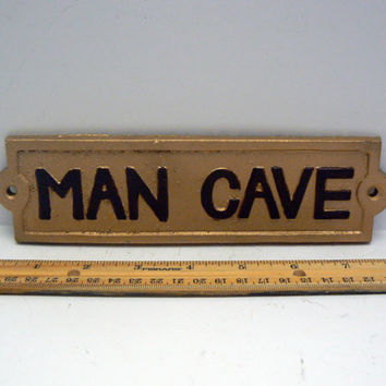 "Man Cave Sign Plaque 8"" 1/4 x 2"" 1/8 Painted Metallic Gold Raised Letters are Painted a Chocolate Brown Wall Man Room Decor"