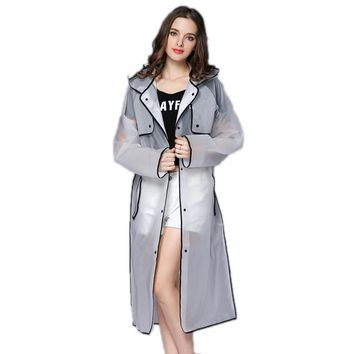 EVA Transparent Raincoat Hooded Women Rain Coat Long Jacket Waterproof Rain Poncho Outdoor Rainwear 4 Colors