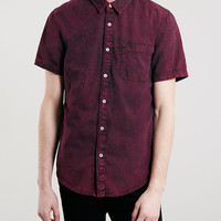 Burgundy Acid Wash Short Sleeve Denim Shirt