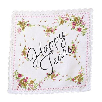 Happy Tears Retro Floral Print Cotton Handkerchief