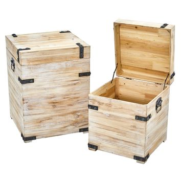 Decorative White Wash Storage Boxes-Trunks with Metal Detail (Set of 2)