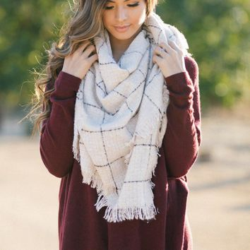 Eliot Beige Plaid Scarf