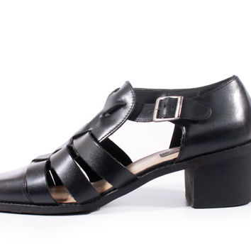 90s Vintage Fisherman Sandals Black Leather Strappy Preppy Goth Hipster Shoes Women Size US 10 UK 8 EUR 40/41