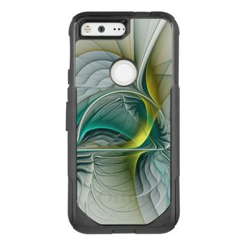 Fractal Evolution, Golden Turquoise Abstract Art OtterBox Commuter Google Pixel Case