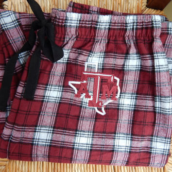 Texas A&M Embroidered Flannel Pajama Pants - Large - Ready to Ship