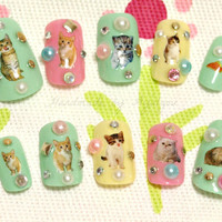 Kawaii nails, deco nails, pastel, spring, cat, kitteh, kitty, pussy, Easter, cute animals, Japanese nail art