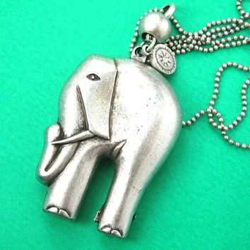 3D Elephant Pendant Necklace in Silver | Animal Jewelry