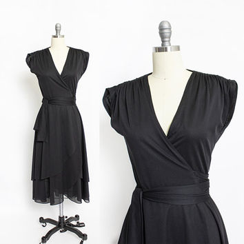 Vintage 1970s Wrap Dress - Black Asymmetric Poly Knit 70s - Small