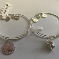 Disney Alex and Ani Fantasyland Dumbo Set of 2 Bangle Silver Finish New