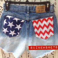 USA Flag Chevron High Waisted Shorts Stars Stripes Patriotic 4th of July Waist 28 IN STOCK Ready to Ship // suznews etsy store //
