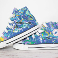 Toddler LowTop or HighTop Splatter Painted Converse or Vans Sneakers Size 3.5-10, Custom Made