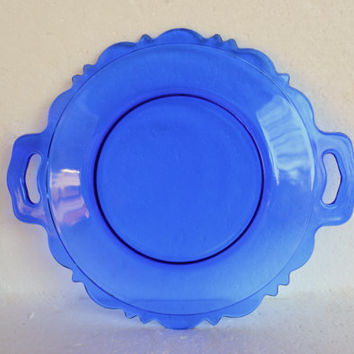 Vintage Cobalt Blue Glass Plate,  L.E. Smith's Mount Pleasant Double Handled Cobalt Blue Plate, Blue Depression Glass, Serving Piece