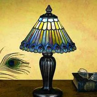 12 Inch H Tiffany Jeweled Peacock Mini Lamp Table Lamps