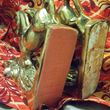 A Beautiful Vintage Set of Solid Brass Rearing Horse Bookends