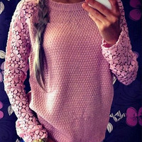 Women Lace Pullovers Hoodies Sweaters Knitted Sweater Long Sleeve Hollow Casual Autumn Pullovers