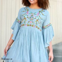 Umgee Light Gray Dress with Colorful Floral Embroidery