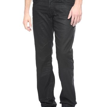 True Religion Ricky Straight Coated Black Super T Mens Jean - Dark Rider
