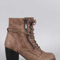 Qupid Oil Finish Suede Lace Up Bootie