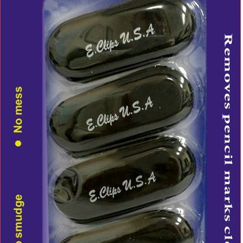 Oval Shaped Erasers 5 Count - Black Case Pack 24