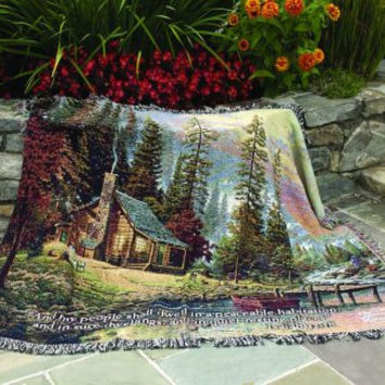 Peaceful Retreat w/Verse Wall Tapestry Afghans