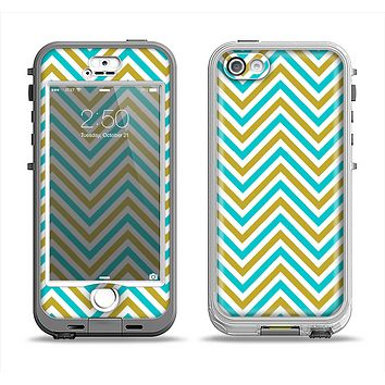 The Gold & Blue Sharp Chevron Pattern Apple iPhone 5-5s LifeProof Nuud Case Skin Set