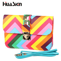 New Fashion womens' pouch brief rainbow shoulder bags women PU  messenger bags leather handbags Women Crossbody Bags