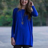The Perfect Piko Tunic Top-Light Cobalt