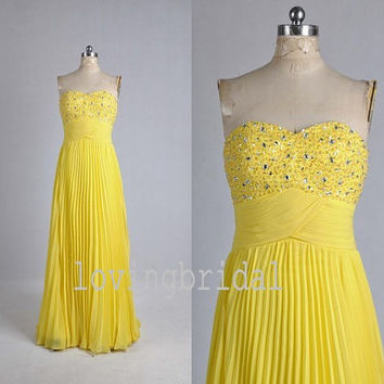 2014 Long Yellow Beaded Chiffon Prom Dress Bridesmaid Dress Party Dress Simple Homecoming Dress Formal Prom Dress Custom
