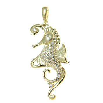 YELLOW GOLD PLATED 925 STERLING SILVER HAWAIIAN SEAHORSE PENDANT BLING CZ 20MM