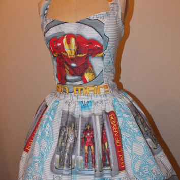 Custom made to order Iron Man 2 Super Hero Sweet Heart Halter Ruffled Geekery Pin Up Mini Dress