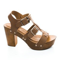 Lain01 Double Buckle Faux Wooden Strappy Platform Slingback Chunky Heel Sandals