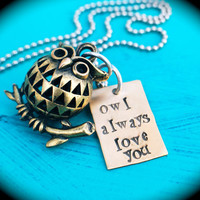 Hand Stamped owl necklace, owl always love you, personalized necklace