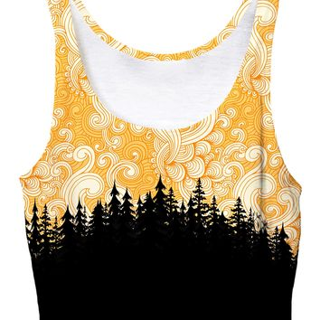 Yellow Cloud Swirl Forest Crop Top